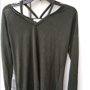 Strappy army green top